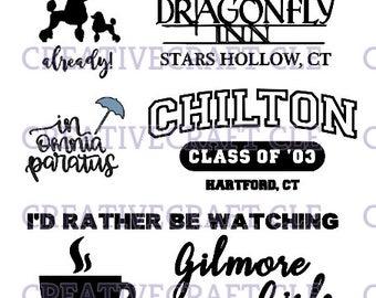 set of 5 gilmore girls svg cut files for cricut or other craft machines rory lorelai stars hollow chilton inomnia paratus logan