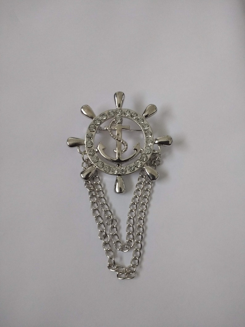 Men's Brooch Lapel Pin  Double Brooch   Brooch with Chains  Sailor Brooch