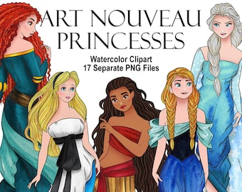 Watercolor Art Nouveau Princesses. Modern style beautiful girls. Mucha style. Digital prints, printable art decor, hand painted graphic, PNG