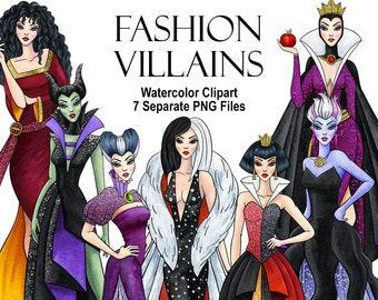 Watercolor Fashion villains. Fairytale villains. Digital prints, printable art, decor, hand painted graphic PNG