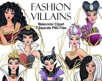 Watercolor Fashion villains. Beautiful queens. Fairytale villains. Digital prints, printable art, decor, hand painted graphic PNG