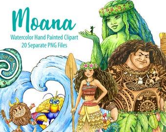 Watercolor Moana Clipart Maui Tafitis Heart Kakamora Waves Digital Prints Printable Art Kids Room Decor Hand Painted Graphic PNG