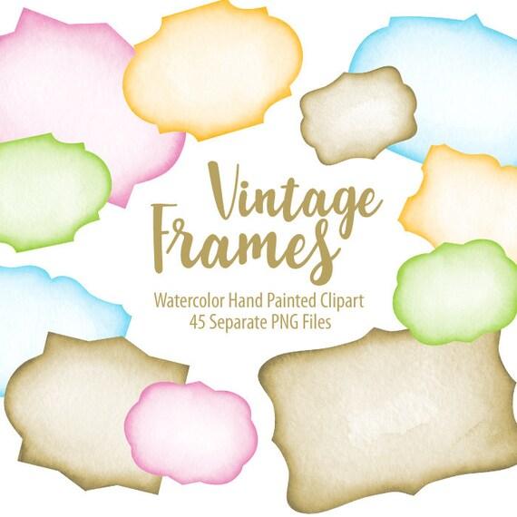 Watercolor Vintage Text Frames. Digital prints printable art | Etsy