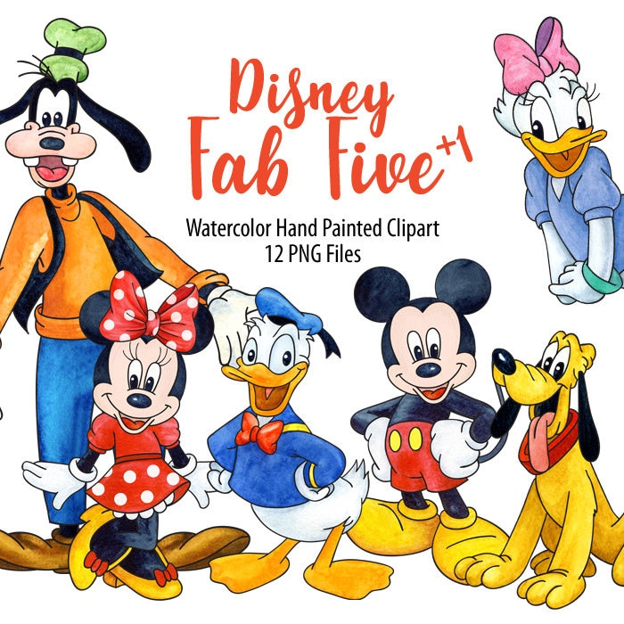 Watercolor Disney Fab Five Clipart. Mickey Donald Minnie ...