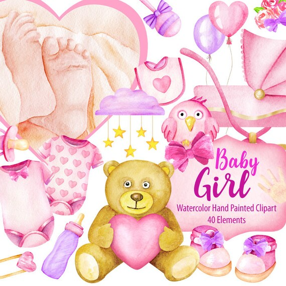 Watercolor Newborn Baby Girl Clipart Digital Prints Etsy