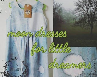 Handmade Moon Dress, little girls dress, constellation print, moon print, blue summer dress, handpainted cotton  sleeveless dress for girls