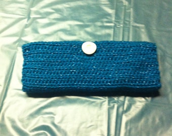 Sparkle Teal Crochet Evening Clutch