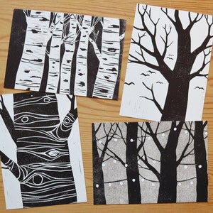 from original watercolor painting Row Trees Art Postcard