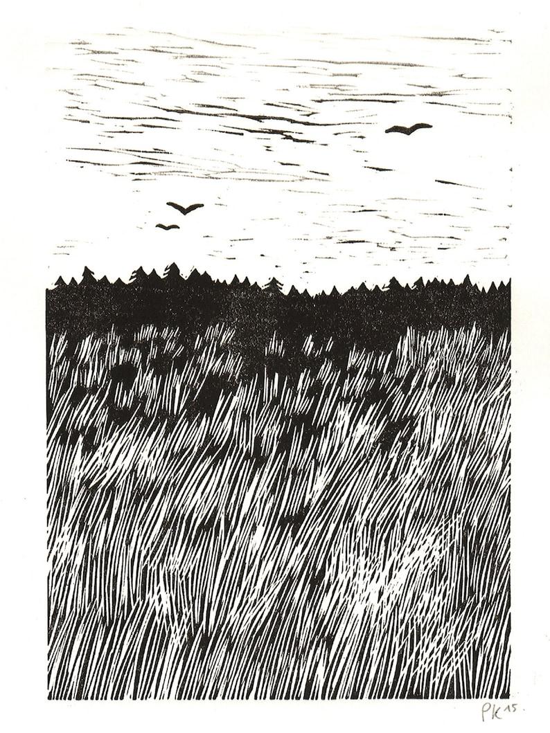 grassland 1 \u00b7 original linocut \u00b7 limited \u00b7 DIN A4