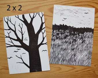 """Postcard set of 4 """"field and birds"""""""