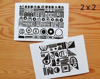 "Postcard set of 4 ""pattern"""