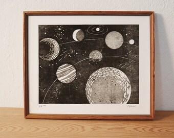 space 2 · original linocut · Limited Edition · DIN A4