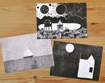 """Postcard set of 3 """"house and boat"""""""