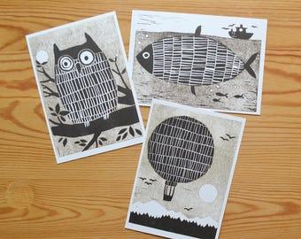 "Postcard set of 3 ""owl, fish, balloon"""