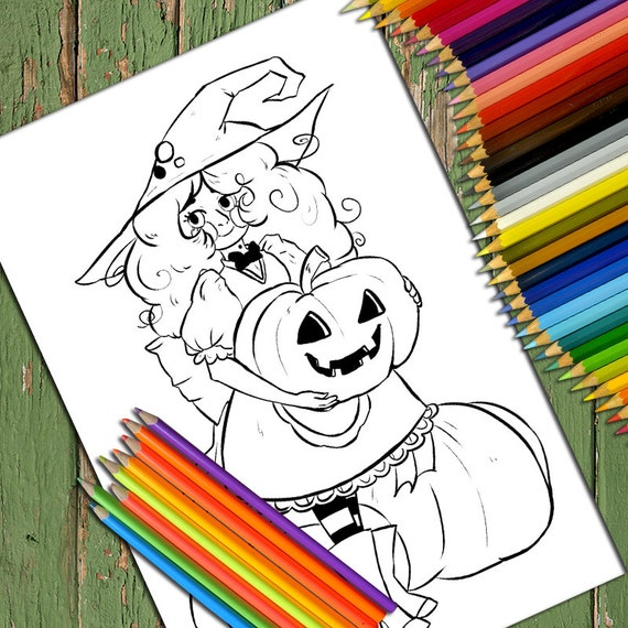 Halloween Witches and Pumpkins Stained Glass coloring page | Free ... | 570x570