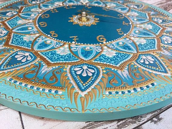 turquoise unique handmade wall clock , wooden modern mandala clock for wall , personalized large wood clock , silent round oversized clock