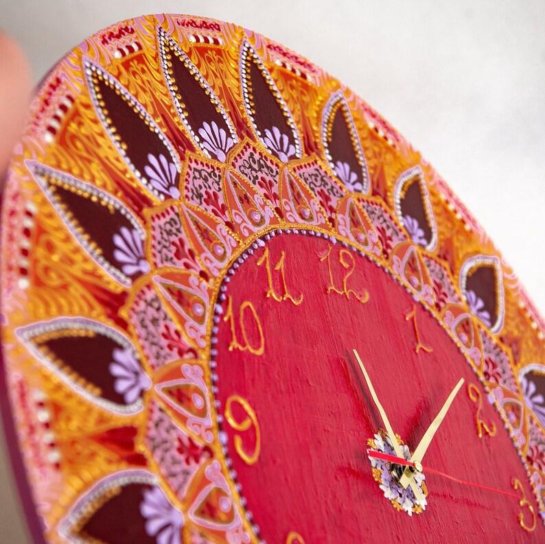 Grande horloge en bois de mur par mandala art Boho décor personnalisé dans votre chambre