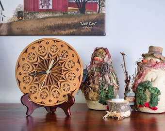 """Chip Carved Analog Clock, 8"""" No Numbers"""