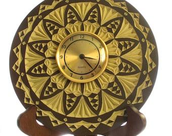 "Chip carved clock, 8"" clock"