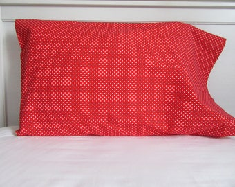 Red and white spotted pillowcases