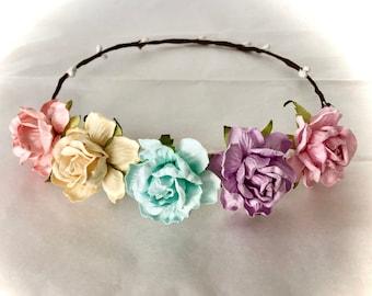 Beautiful pastel floral headband wedding newborn photography baby