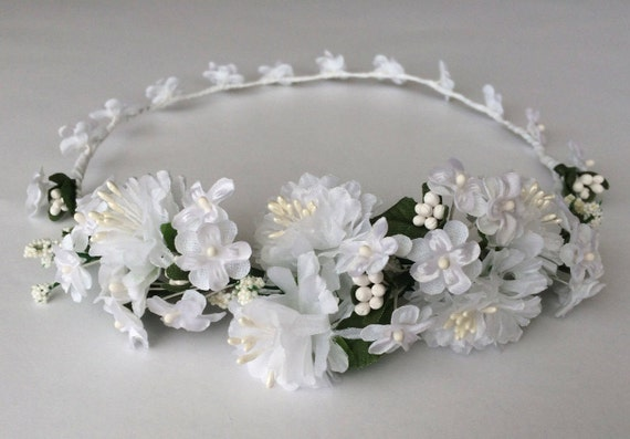 5ddc135aebb Bridal crown flower girl crown white silk flowers crown
