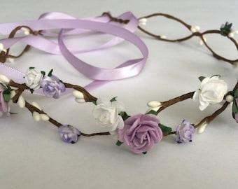 Flower crown, flower girl crown, rose crown, purple and white rose headband, toddler headband, wedding headband
