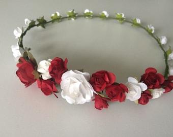 Flower crown, red rose crown, flower girl headband, valentine's day wreath, bridal headband, bridesmaid headband, red and white hairpiece