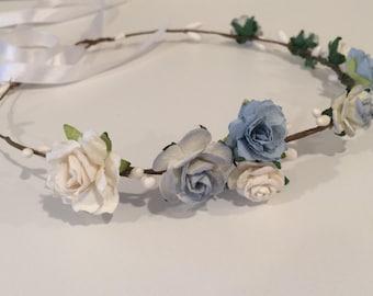 Blue flower crown, bridal hairpiece, bridesmaid or flower girl crown, rose crown, toddler tiara