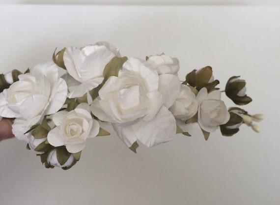 White flower crown rose crown white roses tiara flower girl etsy image 0 mightylinksfo
