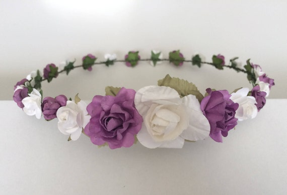 Purple And White Flower Crown Wedding Rose Crown Purple And Etsy