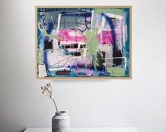 beautiful, abstract, acrylic, original painting, 60 x 45 cm, canvas, posca artwork, modern, contemporary, living room, home decor, wall art