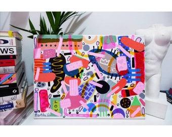 beautiful, colourful, abstract, geometric canvas painting, 30 x 40 cm, acrylic, posca artwork, naive art, modern, office cute artwork