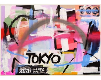 original abstract painting, Tokyo, colorful, acrylic modern art, wall art, home decor, 59.5 x 41.5 x 1.5 cm, pastel colours abstract art