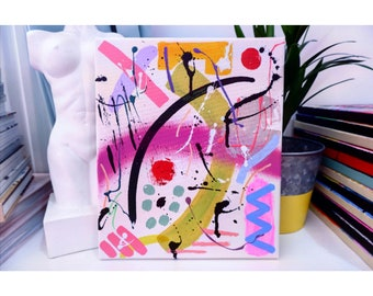 abstract painting, colorful, modern wall art, acrylic, pastel, funky, cute home decor, original artwork, wall art set, living room decor