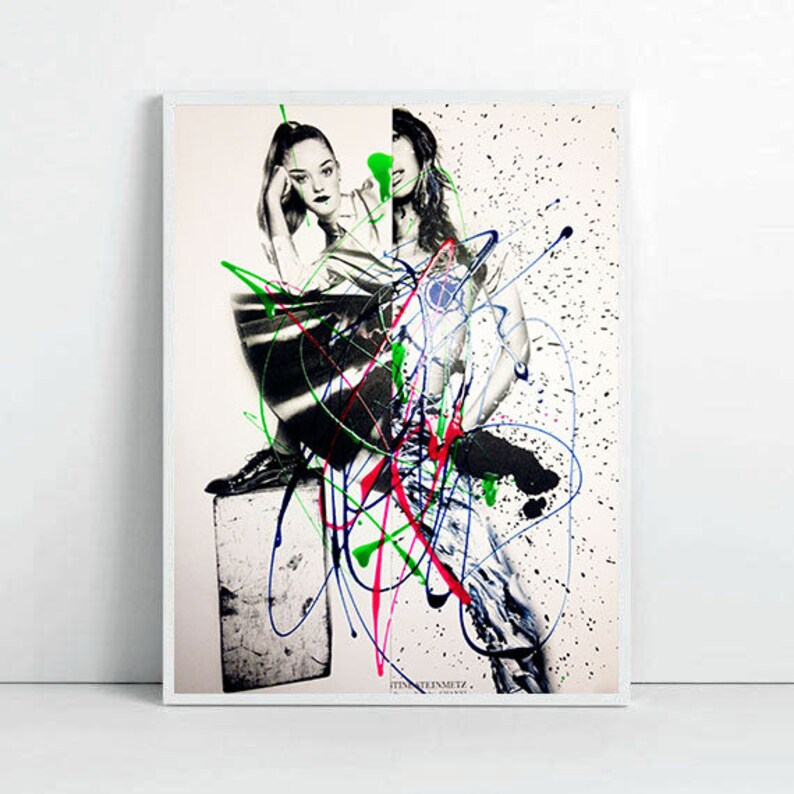 contemporary young artist atelier modern collage original painting wall art abstract art doodle art new home gift office decor