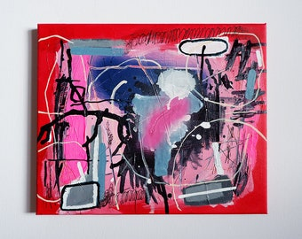 amazing original abstract painting on small canvas, 25.5 x 30.5 x 1.5 cm, expressionism, wall art, home decor, red, pink, black, office art