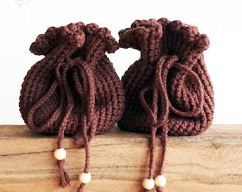 crochet bag, handmade bag for belt, medival and festival, brown / variant colors, pure cotton