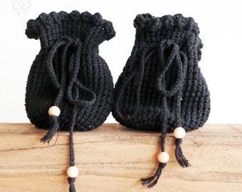 crochet bag, handmade bag for belt, medival and festival, black/ variant colors, pure cotton