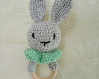Baby rattle rabbit, crocheted with wooden ring