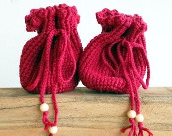crochet bag, handmade bag for belt, medival and festival, red / variant colors, pure cotton