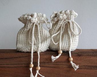 crochet bag, handmade bag for belt, medival and festival, white / variant colors, pure cotton