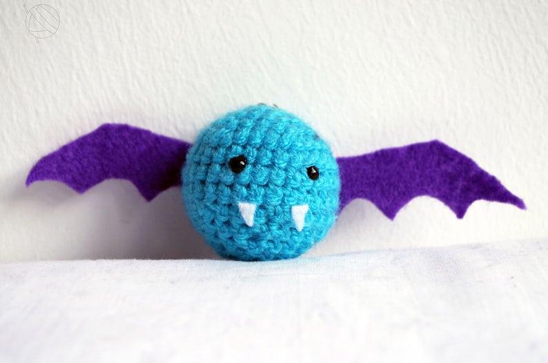 Bat Keychain Blue Amigurumi Bat Bat Charm Handmade Charm image 0