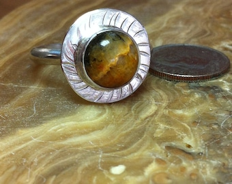 R49-11, Crazy Lace Agate ring, Sterling Silver ring