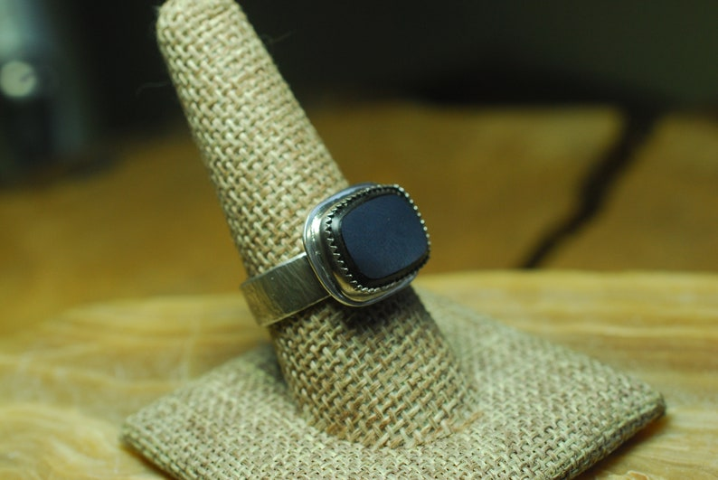 Natural Stone ring Black Onyx ring Chunky Silver ring Gift for Him Black Stone ring Rustic Jewelry