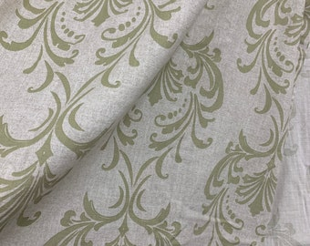 Window curtain panel Art Deco curl, sage green  taupe panel , damask cotton panels, blockout curtain, classic window cover
