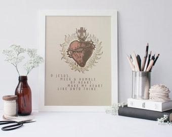 Sacred Heart of Jesus, Meek and Humble of Heart, Print