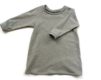 Long Gray Raglan Dress, toddler Dress, Raglan sleeve, Baby girl clothing, Baby girl dresses