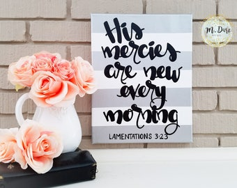 His Mercies Are New Every Morning, Christian Wall Art, Scripture Art, Acrylic Canvas Home Decor, Wall Hanging, Bible Verse Canvas Art