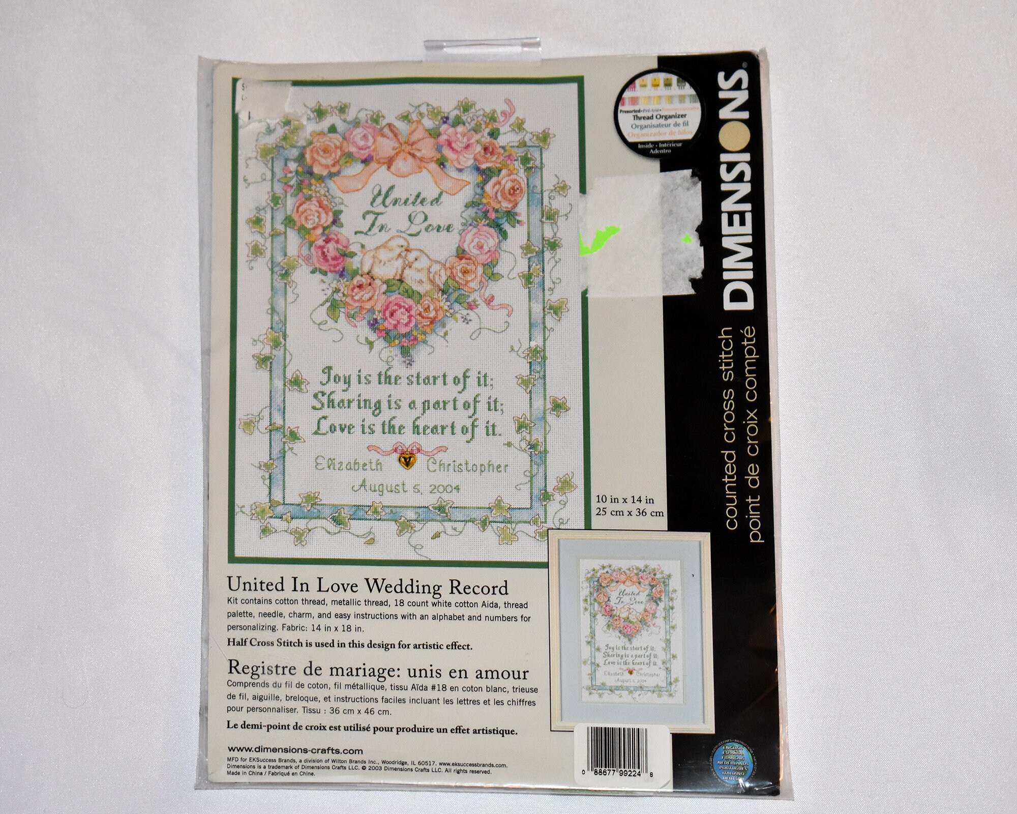 United In Love Wedding Record Counted Cross Stitch Kit Etsy